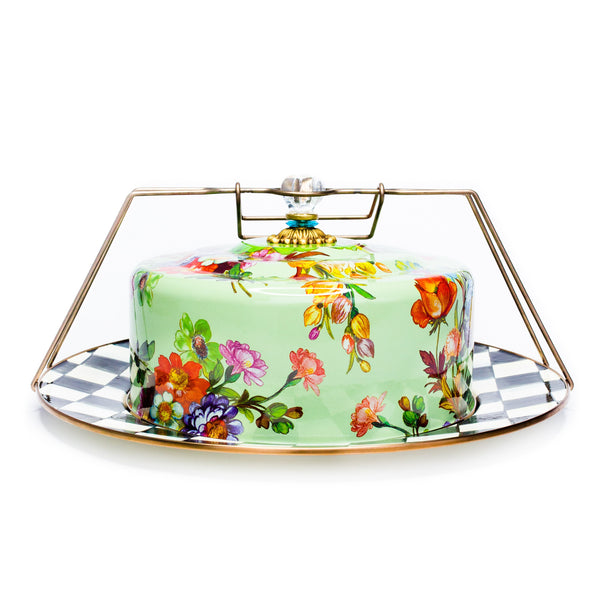 Green Mackenzie-Childs Floral Cake Carrier