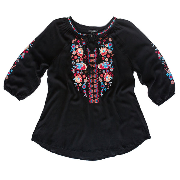 Black Top w/ Multicolor Embroidery