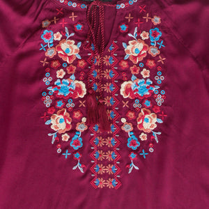 Burgundy Top w/ Multicolor Embroidery