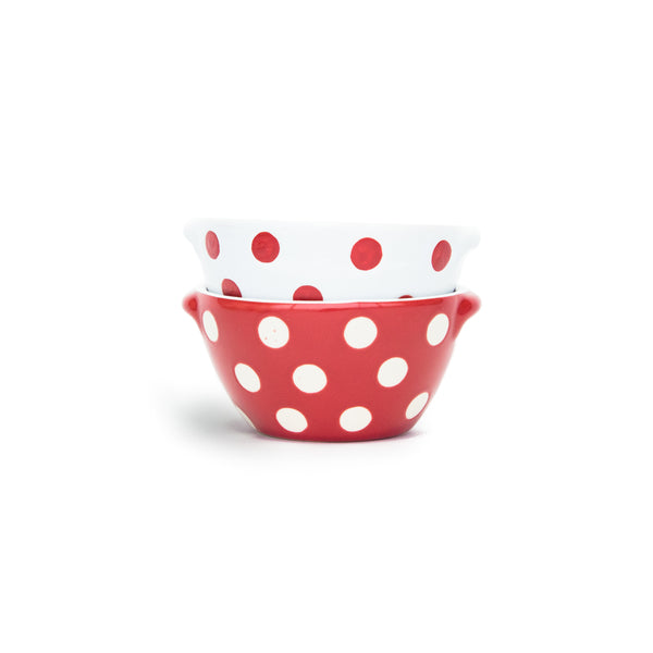 Red and White Polka Dot Bowls