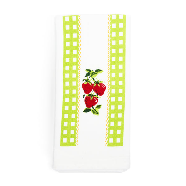 Green Strawberry Time Kitchen Towel