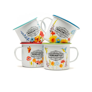 Aqua Sunflower Mercantile Mug