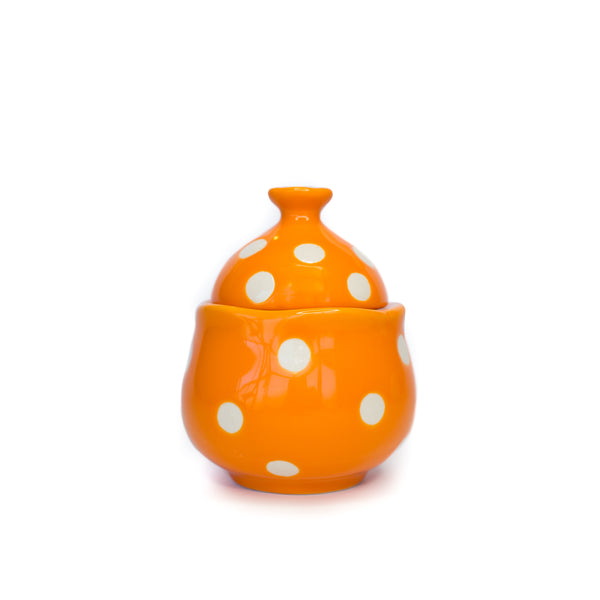 Polka Dot Stoneware Orange Sugar Jar