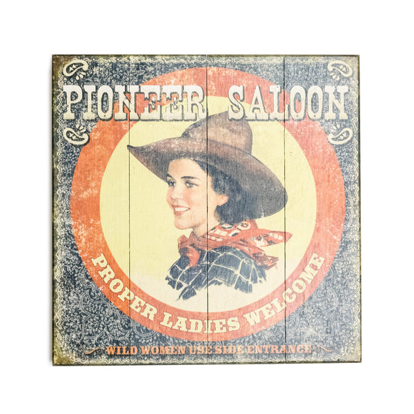 """Pioneer Saloon"" Wood Sign"