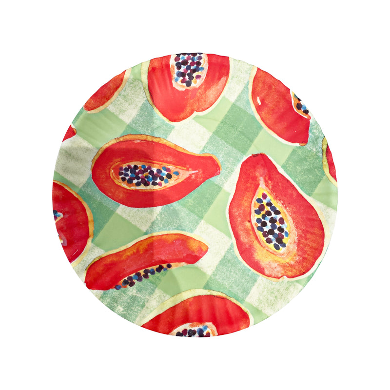 "Papaya Gingham Fruit ""Paper"" Plate"