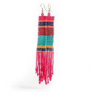 Multicolor Hot Pink Seed Bead Earrings