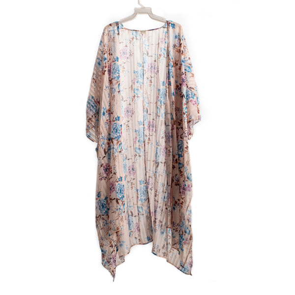 Light Pink Striped Floral Long Kimono