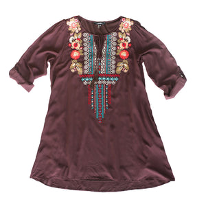 Mocha Embroidered Tie Top - The Pioneer Woman Mercantile