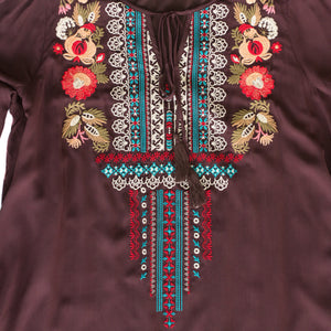 Mocha Embroidered Tie Top