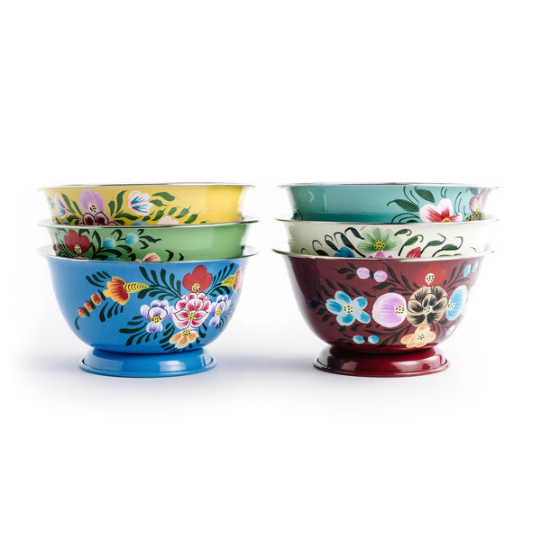 Enameled Floral Bowl