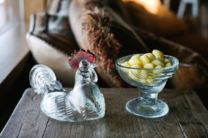 Pressed Glass Hen Dish