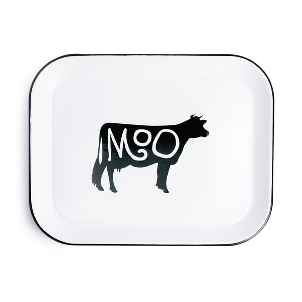 """Moo"" Enameled Tray"