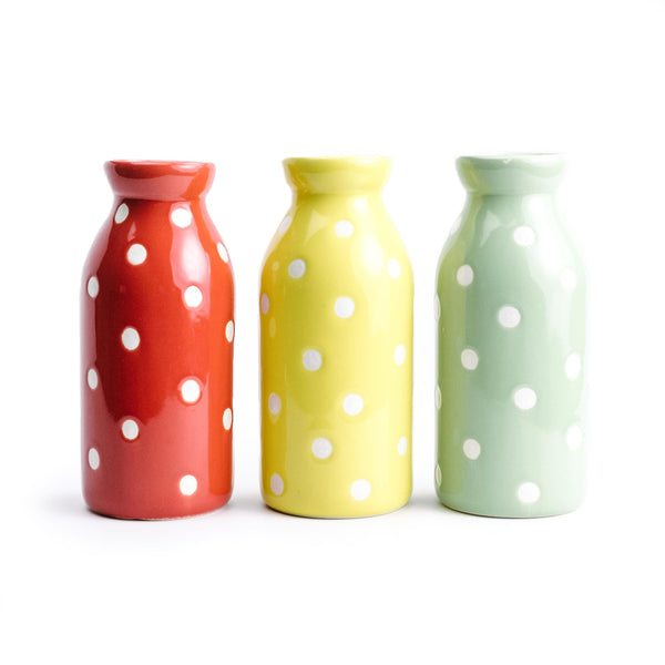 Polka Dot Milk Bottle
