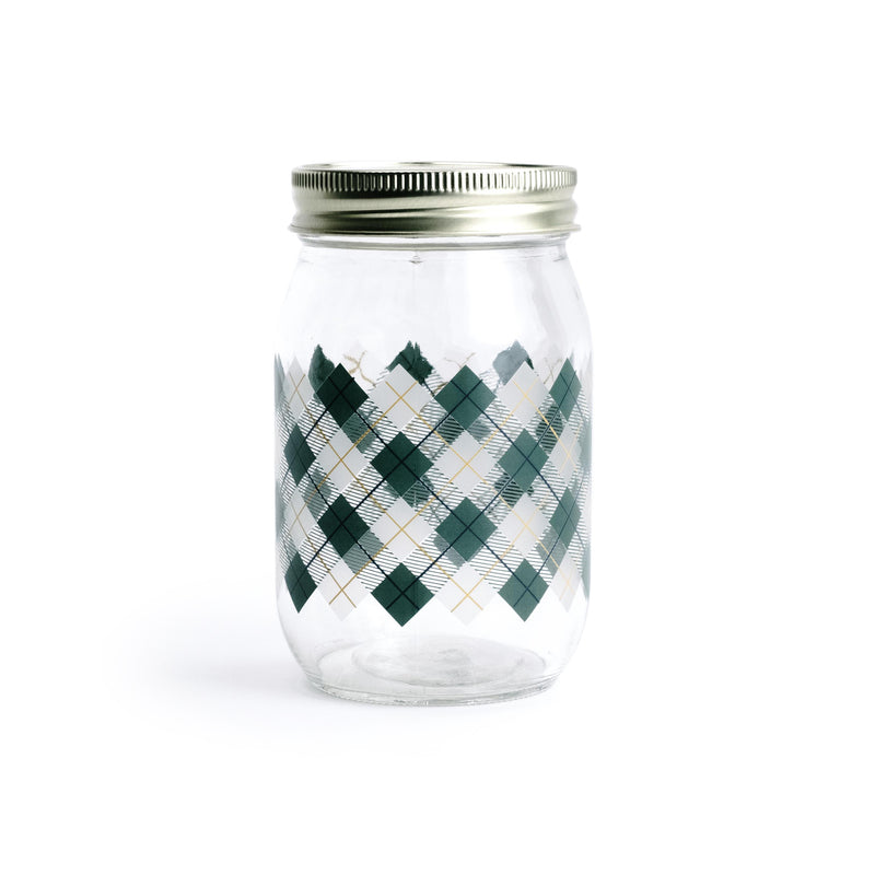 Green Plaid Storage Jar