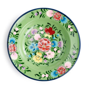 Enameled Floral Soup Plate