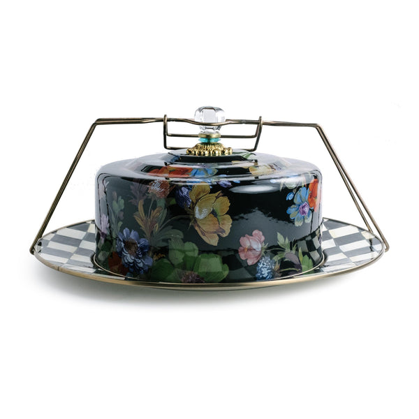 Black Mackenzie-Childs Floral Cake Carrier