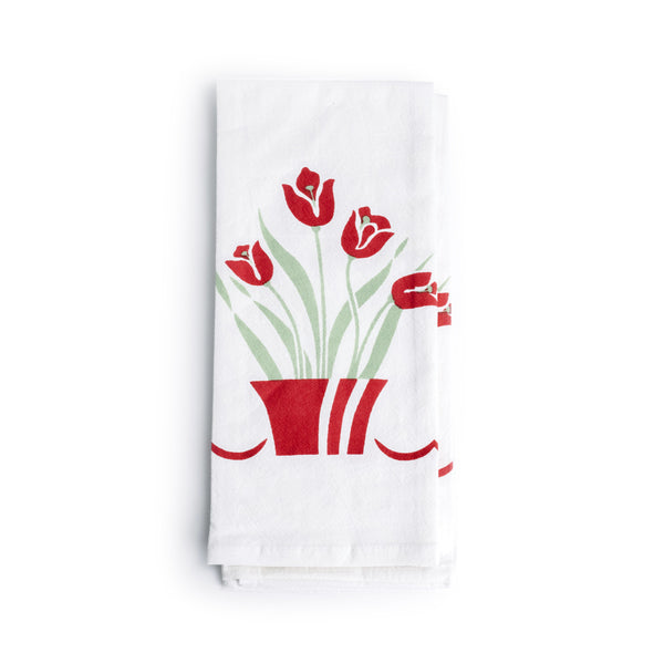 Red Tulips Kitchen Towel