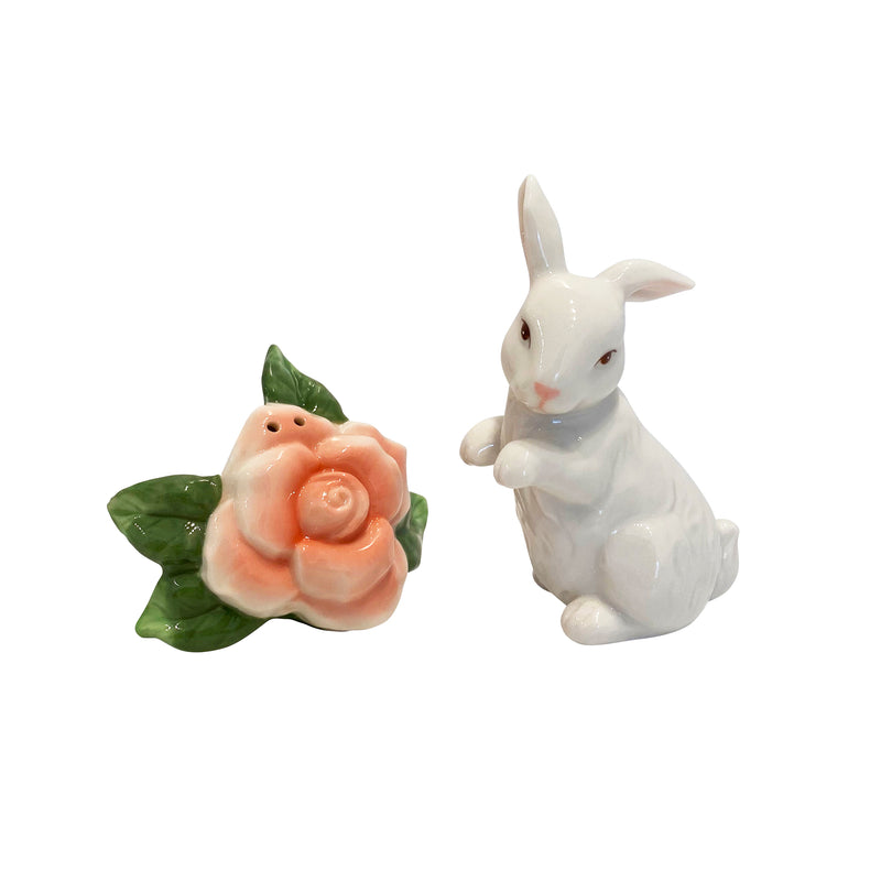 Rabbit with Rose Salt and Pepper Shaker