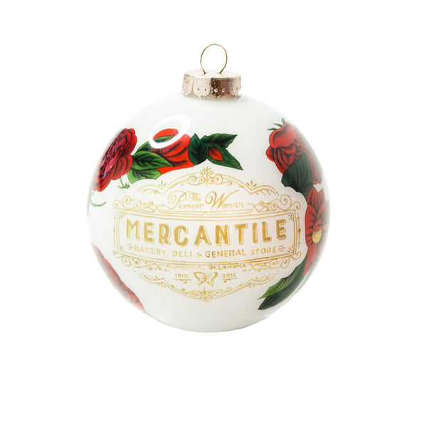 Limited Edition Red Floral Hand-Painted Mercantile Ornament
