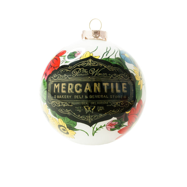 Limited Edition Multicolor Floral Hand-Painted Mercantile Ornament