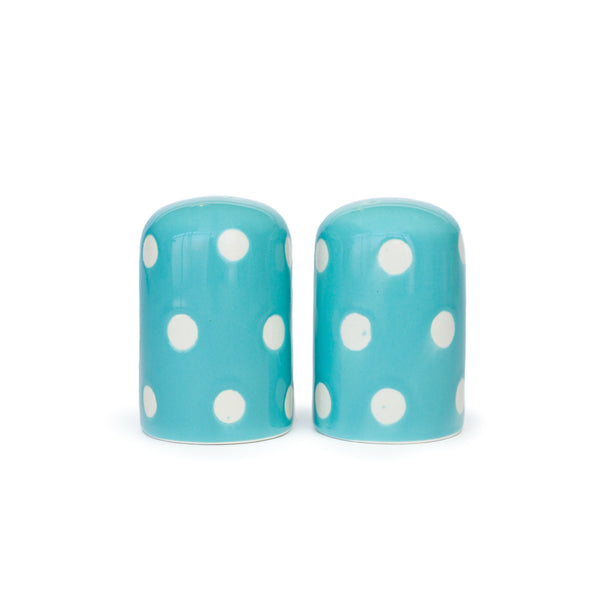 Polka Dot Stoneware Blue Salt & Pepper Shakers