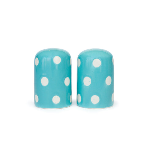 Polka Dot Stoneware Blue Salt & Pepper Shakers - The Pioneer Woman Mercantile