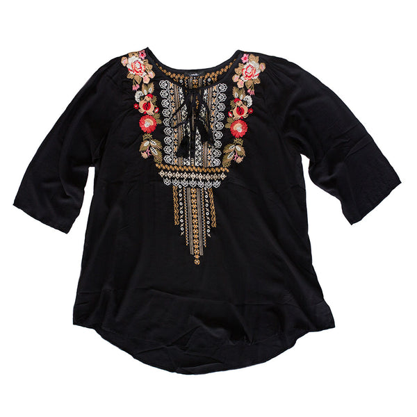 Black Embroidered Tie Top