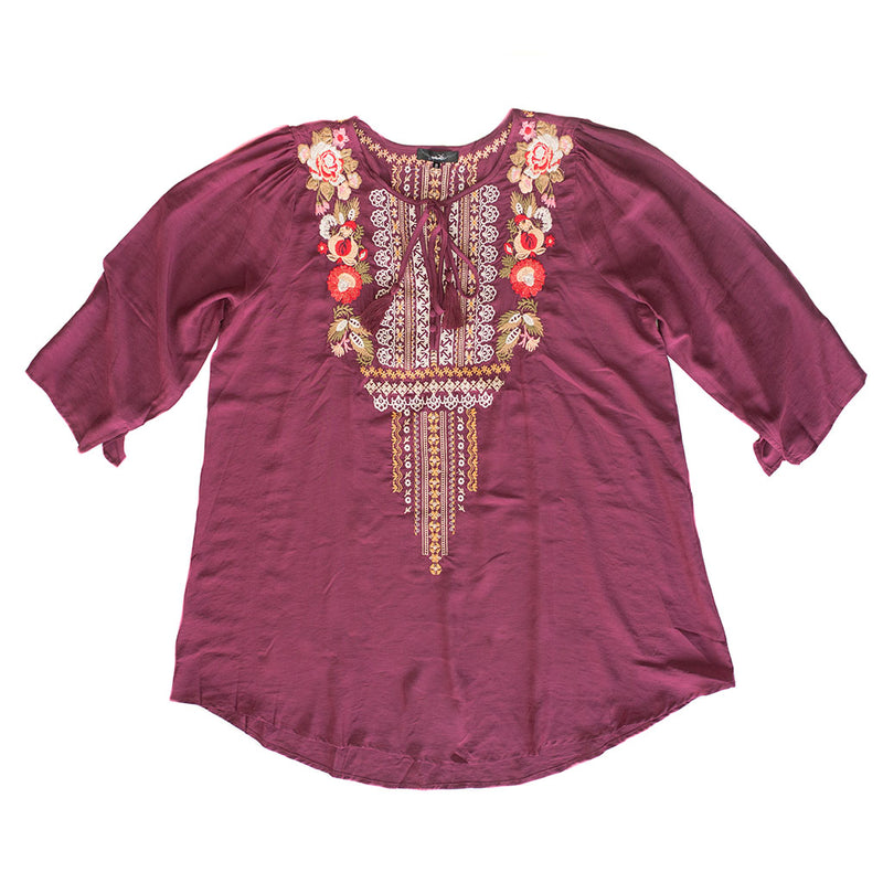 Wine Embroidered Tie Top