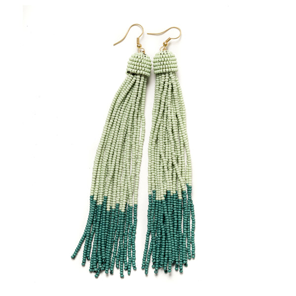 Teal Tassel Seed Bead Earrings