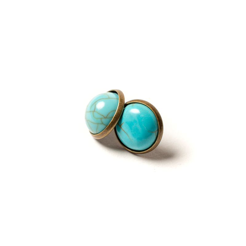 Turquoise Dome Earring with Brass
