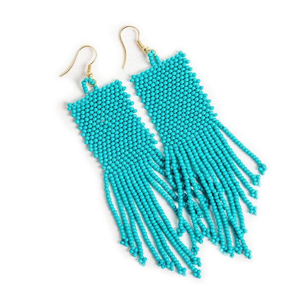 Turquoise Seed Bead Earrings