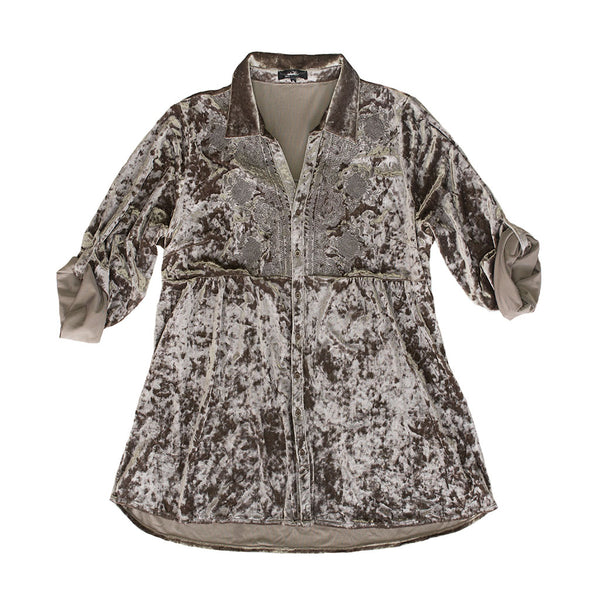 Silver Velvet Embroidered Top - The Pioneer Woman Mercantile