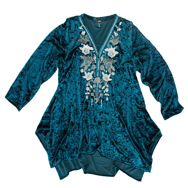 Dark Teal Velvet Embroidered Top
