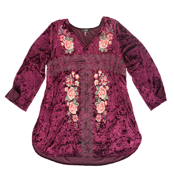 Marsala Velvet Floral Embroidered Top