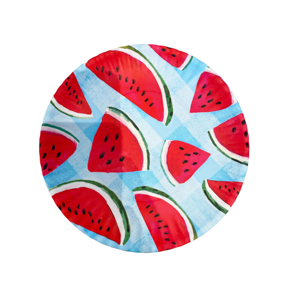 "Watermelon Gingham Fruit ""Paper"" Plate"