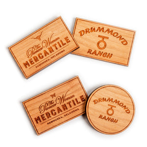 Round Drummond Ranch Wooden Magnet
