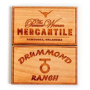 Square Steerhead Mercantile Wooden Magnet