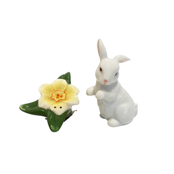 Rabbit with Narcissus Salt and Pepper Shaker