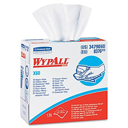 Wypall X60 Reusable Paper Cloths, White, 126 Sheets/Box, 1 Box/Case