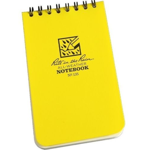 "Rite in the Rain 135 All-Weather Universal Notebook, Yellow, 3"" x 5"""