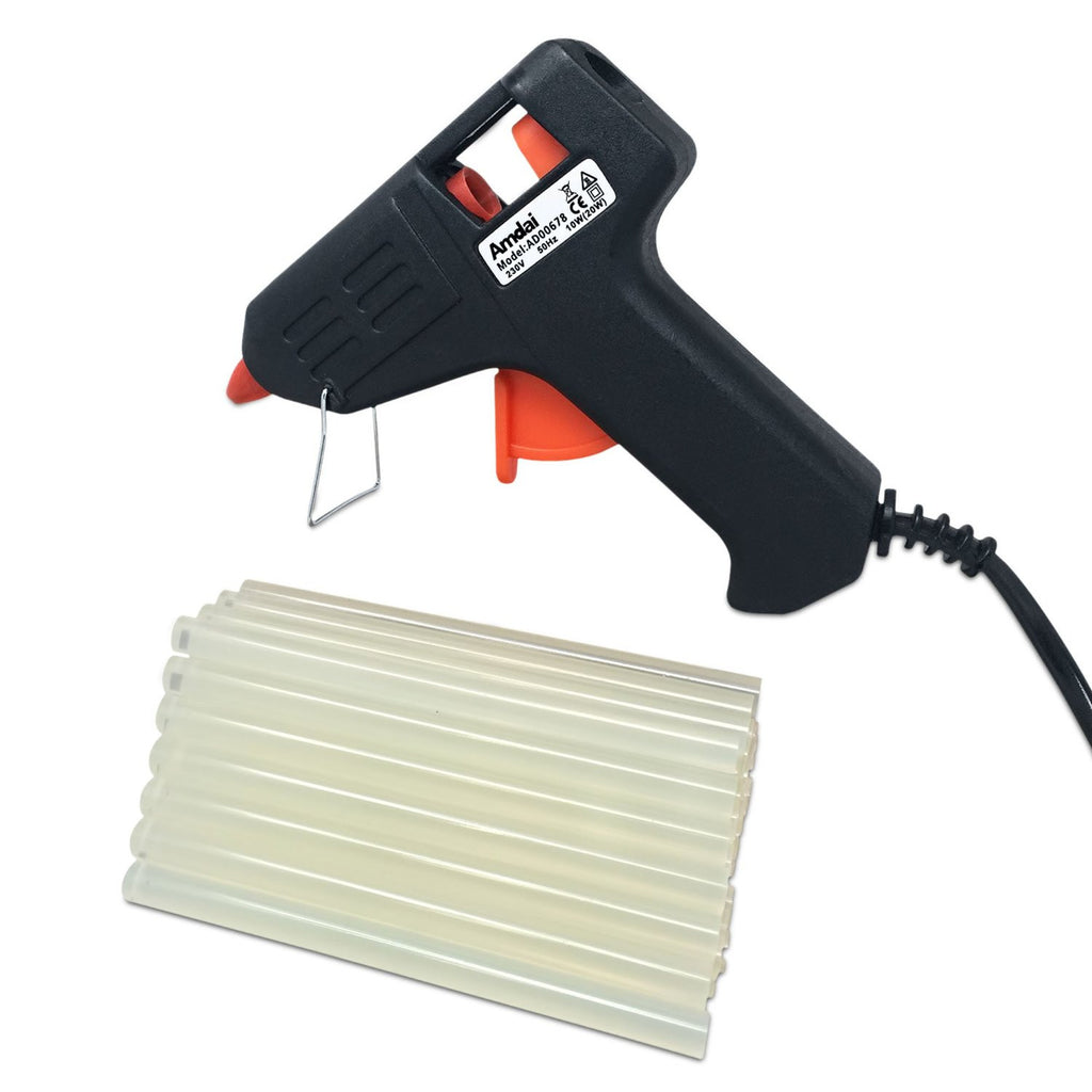Amdai 20W Electric Glue Gun Hot Melt with Trigger PLUS 60 Glue Sticks for Hobby, Craft, Mini, Metal, Wood, Glass, Card, Fabric, Plastic, & Ceramics