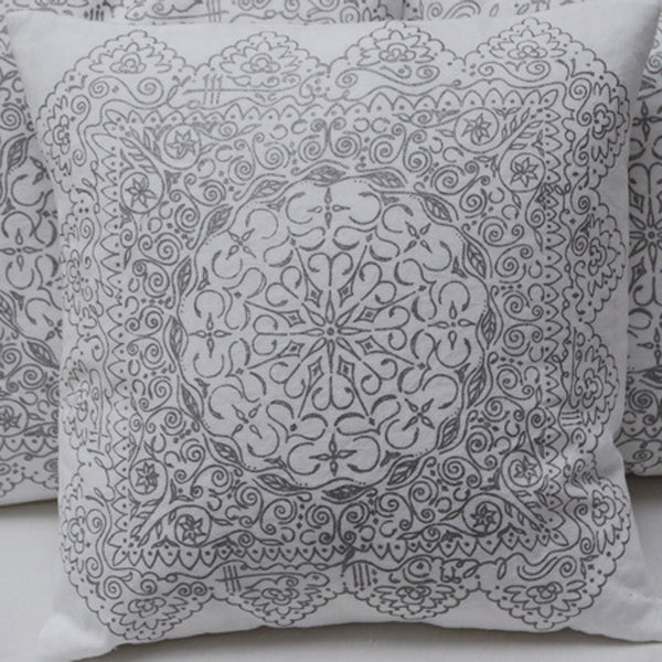 white linen cushion with screen printing