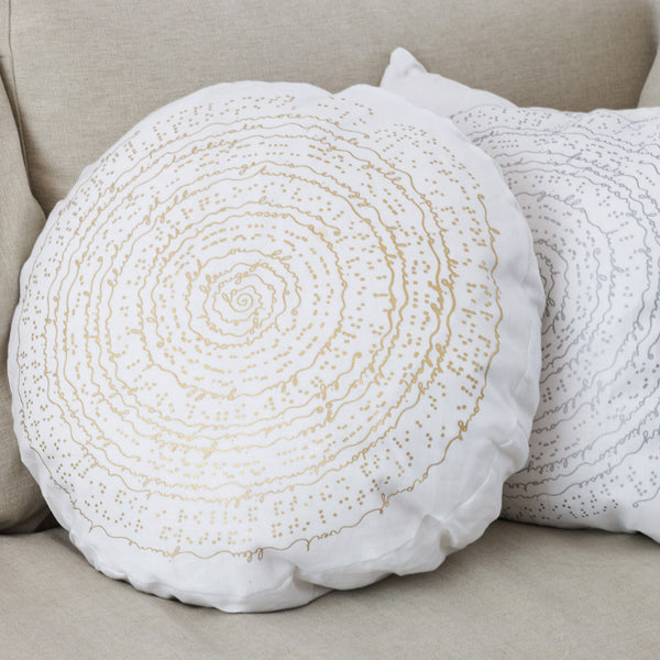 white linen round or square cushion with screen printing