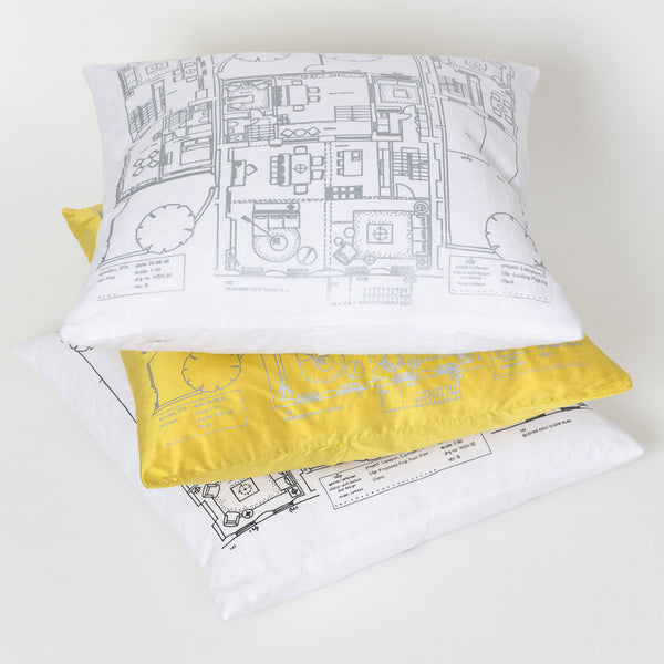 white linen or yellow silk cushion with screen printing