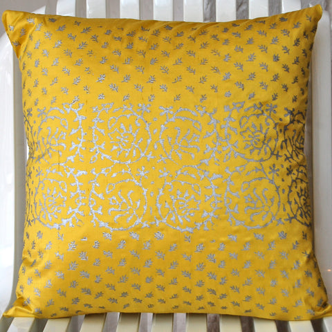 yellow silk cushion with block print