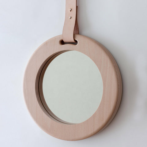 alp mirror 703 round oak or white frame and leather strap