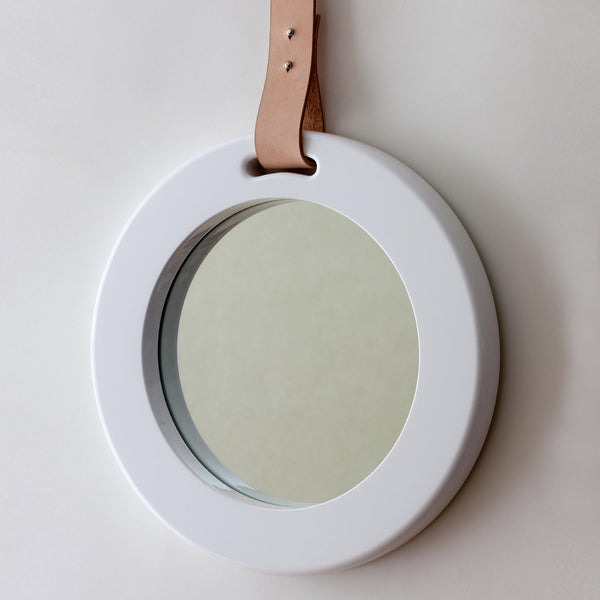 alp mirror 703 round oak or white frame with leather strap