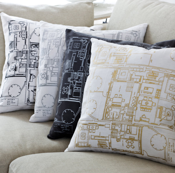 white linen or grey velvet cushion with screen printing