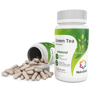 NutraBlast Green Tea Leaf 500Mg 98% Extract - Non-GMO - Supports Low Cholesterol, Weight Loss, Immune System, Antioxidant and Heart Health - Made in USA (60 capsules)