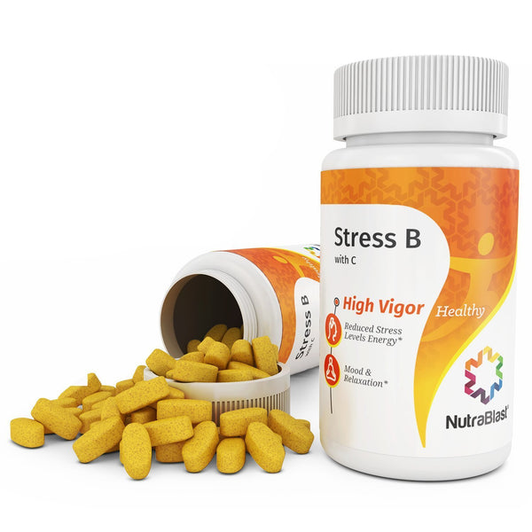 NutraBlast Vitamin B & C Complete Stress Support w/Biotin, Folic Acid, Calcium, Magnesium, Chamomile and Herbal Complex - Supports Mood, Relaxation, and Heart Health - Made in USA (90 Coated Tablets)